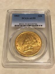 1861 Au55 Pcgs Liberty Double Eagle Type 1 20 Gold Coin Pq Lustrous Very Nice
