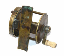 Antique Brass Wide Drum Single Action Vintage Winch Reel With Check C 1860/70