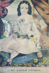 My Little Friend - Original 1845 N Curier Hand Colored Litho - As Is