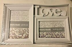 Love Heart Double Picture Frame-shabby Chic Modern Farm House Style Global
