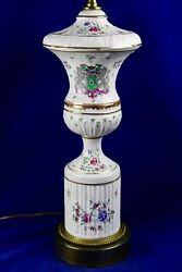 Paul Hanson Hand Painted Coat Of Arms Porcelain Table Lamp 35 1/2 Tall
