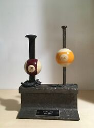 Unique Vintage Billiards Pool Railroad Sculpture - Railway Track, Spike And Nail