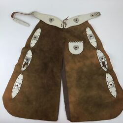Vintage Chaps Brown Suede Leather Western Child Size Studded Details Americana