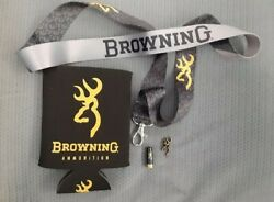 Browning Lanyard , 2 Hat Or Lapel Pin And Koozie Shot Show 2020