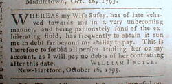 1795 Hartford Courant Newspaper Man Disowns All Debts Made By His Drunken Wife
