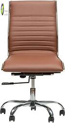 Winport Furniture Mid Leather Armless Chair Lily 145mb Desk Brown