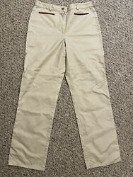 Orvis Womens Size 6 Cotton Double Knee Pants Leather Trim On Front Pockets New