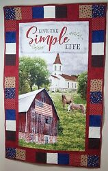 Handmade New Quilted Wall Hanging Live The Simple Life Church Patriotic Horses