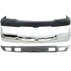 New Front Bumper Chrome Steel Cover Kit For Chevy Silverado 2500hd 2003-2006