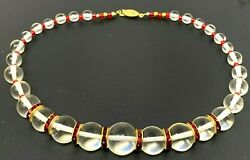 Vintage White Clear Lucite Red Rhinestone Gold Tone Beaded Necklace 16