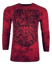 Affliction Menand039s Thermal Causeway Shirt Red Motorcycle Biker Mma S-4xl