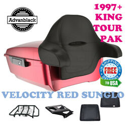 Velocity Red Sunglo King Tour Pack Black Hinges And Latch For 97-20 Harley Touring