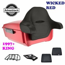 Wicked Red King Tour Pack Trunk Black Hinges And Latch For 97-20 Harley Touring