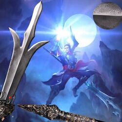 Three-eyes God Three Pointed Double-edged Blade Knife Spear Sword Pike Lance015