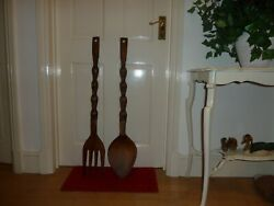 Vintage Giant Hand Made Carved Wooden Fork Spoon Set Tiki Display Decor Cutlery