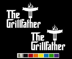 2 The Grillfather Grill Bbq Vinyl Decal Set Custom Size Color For Cars Trucks