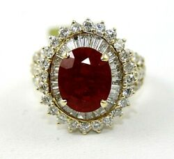 Natural Oval Red Ruby And Diamond Halo Solitaire Ring 14k Yellow Gold 7.94ct