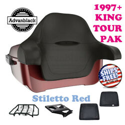 King Tour Pack Pad Trunk Stiletto Red Black Hinges And Latch For 1997-2020 Harley
