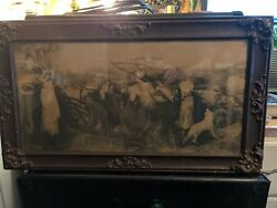19th Century Witches At Harvest Print In Original Frame
