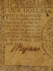 ➡➡ Scarcest Yorktown April 1778 4 Note Cc-71 Usa Continental Currency S/n103525