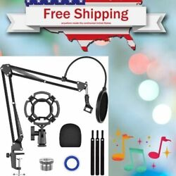 Kasonic Microphone Stand Kit Suspension Boom Scissor Arm Stand With Pop Filter