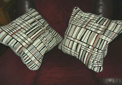 TEXTURED COTTON POLYESTER GEOMETRIC STRIPED COUCH DECORATIVE PILLOWS 17quot;X17quot;