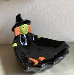 Halloween Witch Ceramic Candy Bowl Dish Holiday Decor