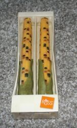 Vintage Russ Berrie Indian Corn Taper Candles Fall Thanksgiving Autumn Pair 9.5