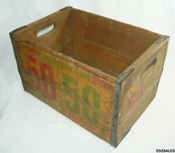 Rare Vintage Canfields 50/50 Grapefruit Lime Wood Box Soda Crate