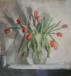 Exquisite Large George Weissbort Still Life Oil Painting Of Red Tulips Signed