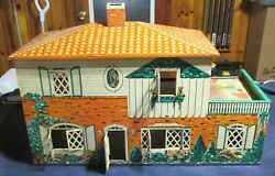 Vintage Tin Doll House Toy T. Cohn Lithograph 1948 Spanish Tile Roof
