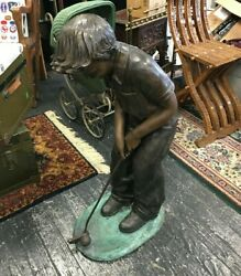 Vintage Bronze Boy Playing Golf Life Size Statue 38 Inches
