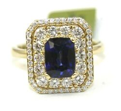 Emerald Cut Blue Sapphire And Diamond Halo Solitaire Ring 14k Yellow Gold 2.90ct