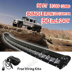 Roof 50'' Curved Led Light Bar Flood Spot Offroad Truck Driving 4wd Suv 52 Slim