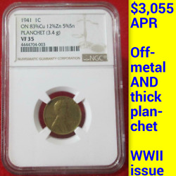 1941 Ngc Vf35 Off-metal Pattern Thick Planchet Wwii 1c █ Lincoln Wheat Cent Rare