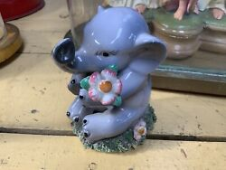 Adorable Vintage Italy Ceramic Elephant Figurine Pink Bow And Flowers Spaghetti