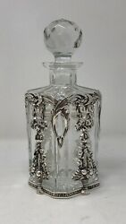 Sterling Silver And Atlantis Crystal Liquor Whiskey Decanter Portugal Topazio .925