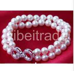 2rows 9-10mm South Sea Round White Pearl Bracelet 7.5-8inch