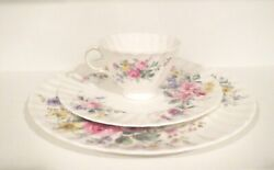 Royal Doulton Cup Salad Dinner Plate Arcadia England Rose Lily Floral H4802