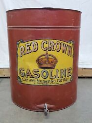 Red Crown Gasoline Barrel Gas Oil Vintage Collectable Can Bucket