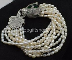 10rows Freshwater Pearl Near Round And Rice Bracelet And Leopard Clasp 8inch