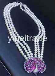 3 Rows Cultured Freshwater Pearl 8-9mm Red Pendant Necklace 18-20 Inch