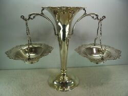 Elkington And Co Solid Silver Vase With Hanging Baskets Centrepiece Bandrsquoham 1909