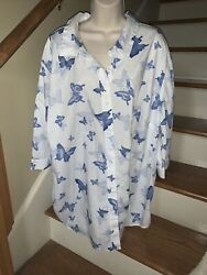 Woman Within Cobalt Butterfly Blouse Top Shirt Size 3x 30w 32w Sexy ❤️tw11j54