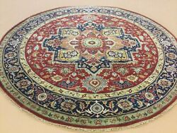 7andrsquo X 7andrsquo Red Navy Blue Round Geometric Medallion Hand Knotted Oriental Area Rug