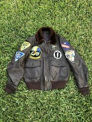 Rare Vtg Vietnam Us Marine Aircraft Bomber Leather Jacket W/ Patches Id Mens 44
