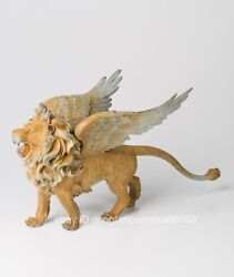 Chinese Brass Copper Modern Art Myth Mythical Creatures Flying Lion Sculpture