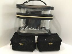 Victorias Secret 1 LG Clear Makeup Toiletries with 2 SM Black Lace Bags New F40 $22.99
