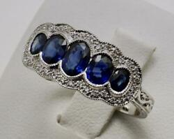 Antique Style 18carat 18k Gold Sapphire And Diamond Dress Ring Size Uk-r Us-8 5/8