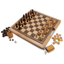 Deluxe 3-in-1 Wooden Folding Chess Checker And Backgammon Board Game Combo Set